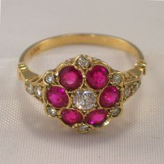 Ruby and Diamonds Ring - Mothers Ring for April and July