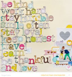 Be Kind... And Love by @PaigeEvans at @studio_calico #scrapbooking