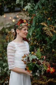 Fall wedding - A Charlie Brear Jumpsuit and Frida Kahlo Inspired Headpiece for a Modern and Colourful Autumn Wedding – Fall wedding Wedding Tags, Bridal Wedding Dresses, Lace Weddings, Fall Wedding, Autumn Weddings, Wedding Flowers, Wedding Ideas, Brown Suit Wedding, Charlie Brear