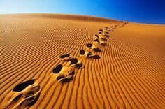 Footprints in desert