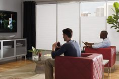 Get Ready for Game Day - Best Window Treatments for Media Room Okay am I the only one who obsesses over glare on the TV? Learn what blinds to use to cover your media room windows! Small Media Rooms, Best Blinds, Small Sectional Sofa, Honeycomb Shades, Media Room Design, Window Treatments Living Room, Best Windows, Home Cinemas, Living Room Sofa