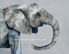 Watercolor painting elephant painting art by 1000PaintedTrees, $18.50