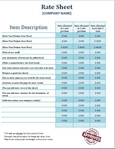 rate sheets templates - the monthly task to do list is a document that contains
