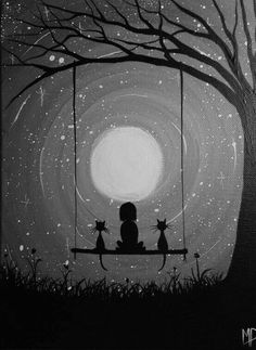30 Best Canvas Painting Ideas for Beginners - Nezih D. - - 30 Best Canvas Painting Ideas for Beginners - Nezih D. Art And Illustration, Best Canvas, Beginner Painting, Painting Ideas For Beginners, Sketch Ideas For Beginners, Moon Art, Moon Moon, Stars And Moon, Cat Art