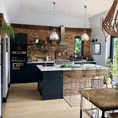 dark kitchen with exposed brick wall of Sharon hornsby_style Home Decor Kitchen, Kitchen Living, New Kitchen, Kitchen Modern, Kitchen Rustic, Reclaimed Wood Kitchen, Kitchen Ideas, Country Kitchen, Funny Kitchen