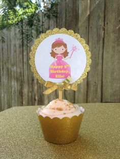 24 gold pricess theme cupcake picks/personalized by VOCrafted on Etsy https://www.etsy.com/listing/511878439/24-gold-pricess-theme-cupcake