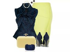 Navy blue and canary yellow