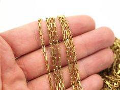 Link Chain, Rectangle Chain, 5 M. Rectangle Raw Brass Chain, Open Link (3.5x2mm) W117 Bs 1377 from yakutum on Etsy Studio