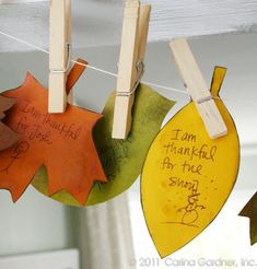 Thankful garland- Love this idea for a Thanksgiving tradition. Makes the kiddos and adults think and makes a beautiful decoration.
