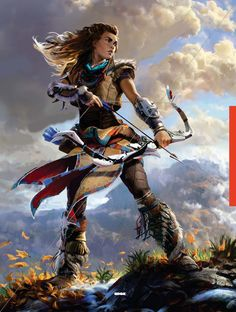 A page for describing Characters: Horizon Zero Dawn Tribes. The people of the many tribes living in the world of Horizon Zero Dawn. Main Character Index Horizon Zero Dawn Aloy, 3d Fantasy, Fantasy Warrior, Warrior Concept Art, Fantasy Characters, Female Characters, Medieval Combat, Bow Drawing, Game Concept Art
