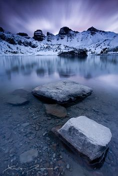 Allos Lake at dawn in the South of French Alps