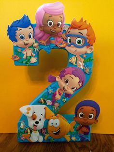 Bubble Guppiles birthday number centerpiece is 8 inches tall made out of papier-mâché - Frozen Birthday Party, Bubble Birthday Parties, Birthday Party Centerpieces, Birthday Party Tables, Cake Birthday, Table Centerpieces, Party Favors, Second Birthday Ideas, Girl 2nd Birthday