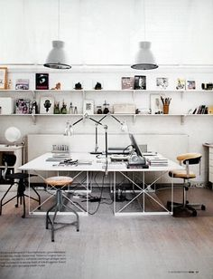 Idea for a two desk configuration. I don't like facing each other though, and the style doesn't suit us.