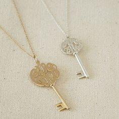 Monogram Key Necklace.