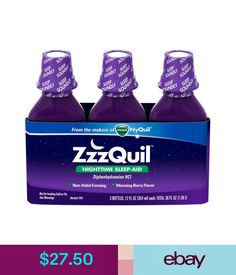 Sleeping Aids Zzzquil Nighttime Sleep Aid Liquid From Makers Of Vicks Nyquil 12Oz X 3 Bottles #ebay #Fashion