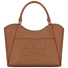 Tory Burch Bombe-T Tote ($525) ❤ liked on Polyvore featuring bags, handbags, tote bags, brown tote bag, tory burch tote bag, pebbled leather handbag, tory burch and tory burch handbags