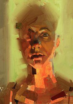 """Marijka"" - John Erickson, mixed media {symbolist expressionist art male head portrait man face grunge painting}"