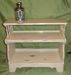 This was just a plain maple end table, now it's done in Annie Sloan Old White with wax finish, and distressed of course. NOW SOLD