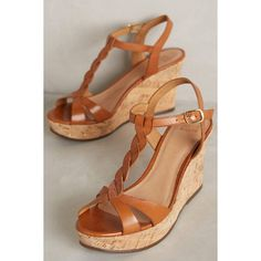 Jasper & Jeera Paulo Wedges ($128) ❤ liked on Polyvore featuring shoes, sandals, honey, wedge heel shoes, wedge sandals, wedge heel sandals and wedges shoes