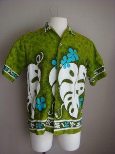 Vintage Mens Tiki Shirt Hawaiian Holiday by decadencefashion Vintage Man, Etsy Vintage, Vintage Hawaiian Shirts, Stunningly Beautiful, Sport Wear, Metal Buttons, Christmas Sweaters, Safari, White Shorts