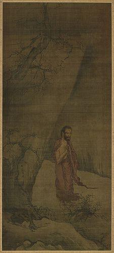 南宋 - 梁楷 -《釋迦出山圖》 紙本設色, 東京國立博物館藏. Painted by Liang Kai (梁楷, c.1140-1210).