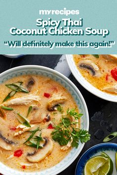 Coconut milk tames the heat and combines deliciously with shredded chicken breast in Spicy Thai Coconut Chicken Soup. Spicy Thai Chicken Soup, Vietnamese Chicken Soup, Thai Coconut Chicken, Soup Recipes, Chicken Recipes, Cooking Recipes, Drink Recipes, Asian Recipes, Healthy Recipes