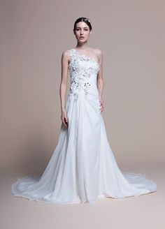 One Shoulder Slim A-Line Chiffon Wedding Dress  Read More:     http://www.weddingsred.com/index.php?r=one-shoulder-slim-a-line-chiffon-wedding-dress.html