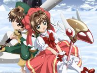 Syaoran and sakura from card captor sakura Cardcaptor Sakura Clear Card, Sakura Card Captors, Sakura Kinomoto, Sakura Sakura, Studio Ghibli, Xxxholic, Anime Lindo, Magic Cards, Magical Girl