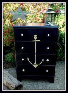 Thrift store dresser Vintage ANCHOR Nautical COASTAL Dresser MAKEOVER CHALK PAINT