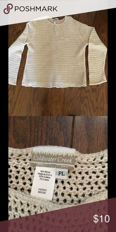 """Coldwater Creek Cable knit Sweater Sz PL Coldwater Creek Cable Knit Sweater. Cream color with slight bell sleeves. Gentle use only. Slight flair at hips. Neck to hem 23"""", sleeves 25"""". No stains or fraying noted. Smoke free home Coldwater Creek Sweaters Crew & Scoop Necks"""