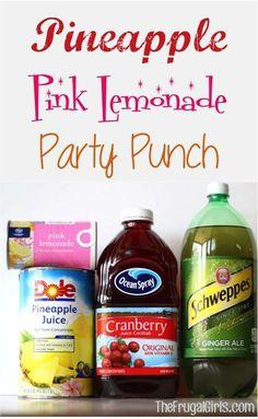 Pineapple Pink Lemonade Party Punch Recipe