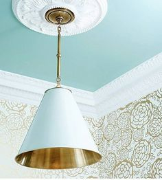 Robin's egg blue ceiling with Hygge and West  gold and white PetalPusher wallpaper, ceiling medallion and Thomas O'Brien Goodman pendant (Beth Kooby Design photographed by Emily Jenkins)