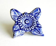 Lace Ceramic Cocktail Ring Oversized Royal Blue by Ceraminic