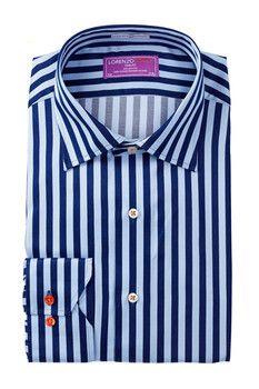 Lorenzo Uomo Long Sleeve Trim Fit Two-Tone Striped Dress Shirt