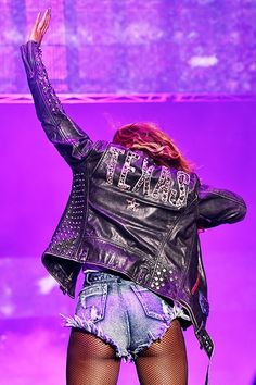 Beyonce - on the run tour. Studded Texas Leather Jacket.