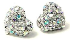 """Adorable Clear and AB Sparkling Crystal Heart Stud 1/2"""" Stud Earrings for Girls, Teens and Women"""
