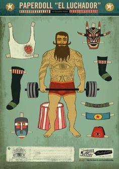 Paperdoll El Luchador - White Monkey Design