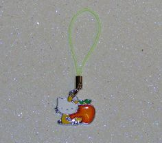 "ADORABLE LITTLE CAT CELL PHONE CHARM-YELLOW-ORANGE-3 1/4"" LONG-PLUS FREE GIFT-$3.99 