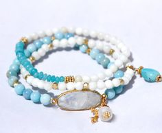 Amazonite Stretch Bracelet w Moonstone Connector
