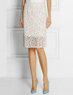 VERA WANG Embroidered Lace Skirt