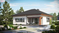 is a compact one-story house with a simple block covered with an envelope roof. We enter the house from the entrance arcade. Modern Family House, Rural House, Archi Design, Comfortable Living Rooms, One Story Homes, Concept Home, Small House Design, Story House, Design Case