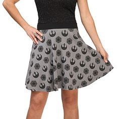 When you're wearing this skirt, the Force goes swish. Covered with a pattern made from the Alliance Starbird and First Order symbols, this skirt is a ThinkGeek exclusive.