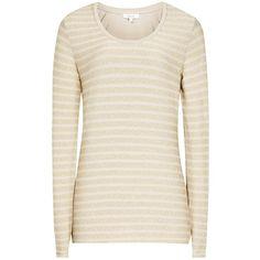 Reiss Sail Long Sleeve Metallic Stripe T-Shirt, Sahara (€53) ❤ liked on Polyvore featuring tops, t-shirts, print t shirts, striped t shirt, slim fit tees, pink long sleeve t shirt and slim fit t shirts