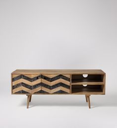 Swoon Editions Side table, mid-century style in mango wood and copper - £169