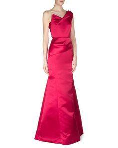 One-Shoulder Satin Faille Gown, Amarena Red by Roland Mouret at Neiman Marcus.