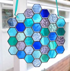 Stained Glass Sea Colours Bee Honeycomb by TheGlassSeaDesigns