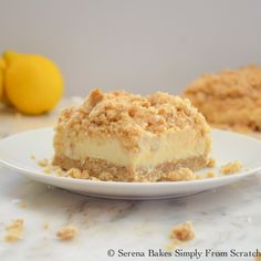 Creamy Lemon Cheesecake Crumb Bars | Serena Bakes Simply From Scratch