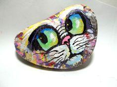 Gail Grant painted rock art CAT FACE orig. acrylic painting paper weight stone #ContemporaryArt