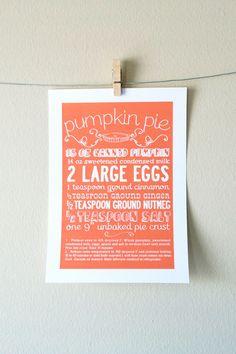 Pumpkin Pie Kitchen Art Print
