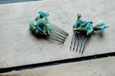 Cherry Blossom Hair Combs - AQUA - Set of Two